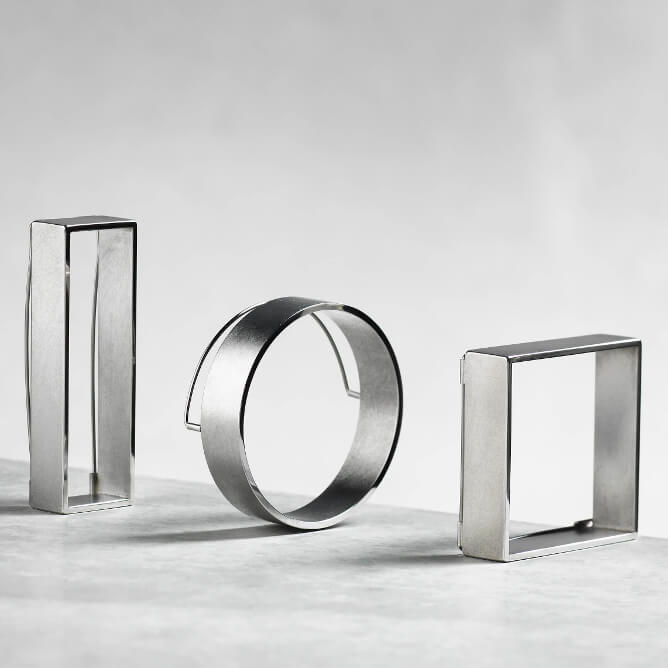 group rectangle round square silver textured brooch handcrafted by Sheng Zang at Craft Design House