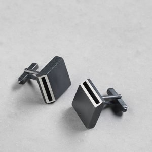 Sheng Zang square edge cufflink solid silver made to order oxidised silver finish stylish for men and women