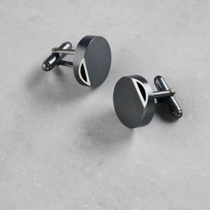 Sheng Zang round edge cufflink solid silver made to order oxidised silver finish stylish for men and women