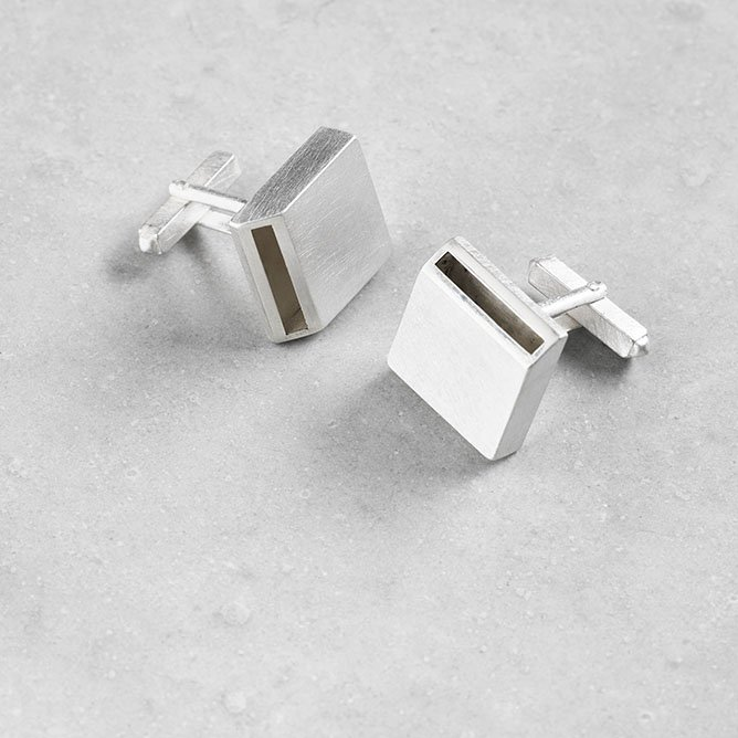 Sheng Zang square edge cufflink solid silver made to order textured silver finish stylish for men and women