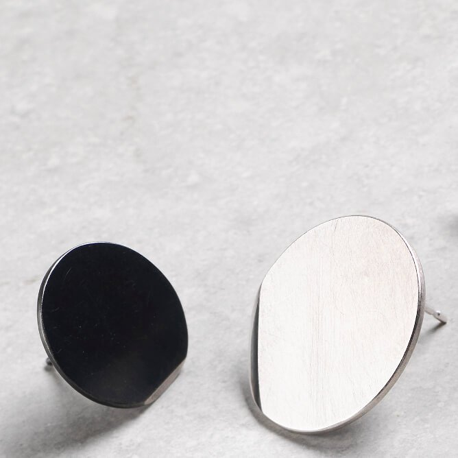 Sheng Zhang handmade round oxidised textured silver earrings jewellery